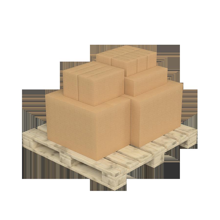 Palet con con diferentes cajas