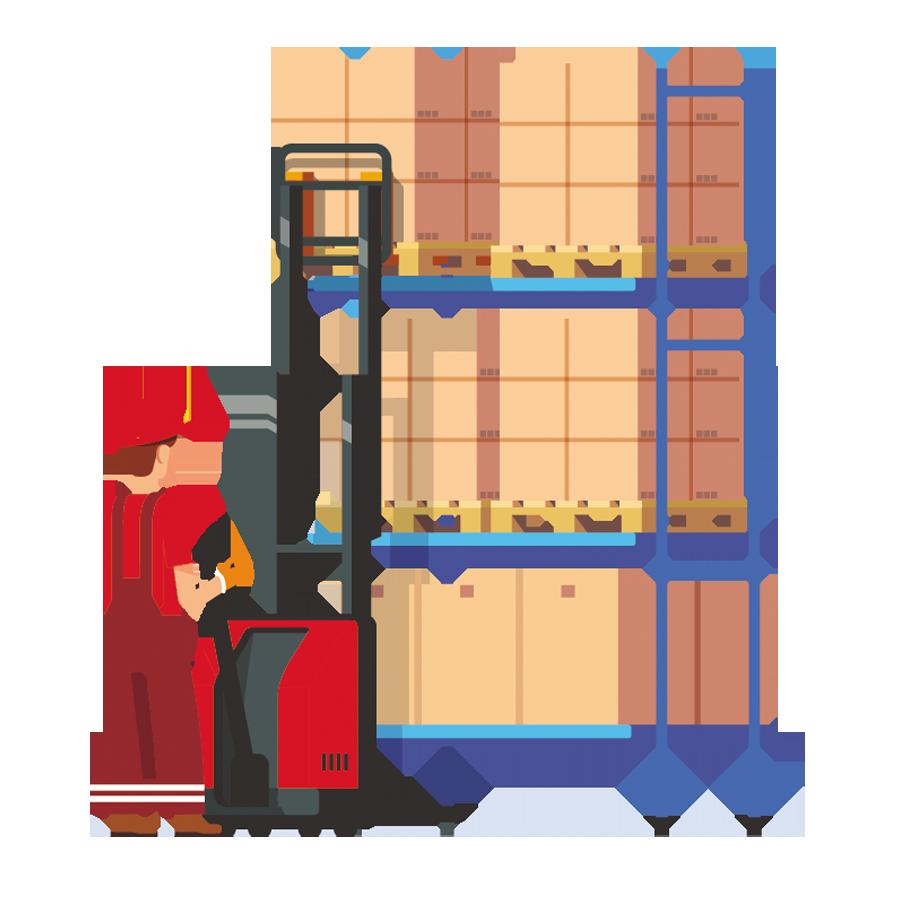 Estanterías de almacen de mercancías
