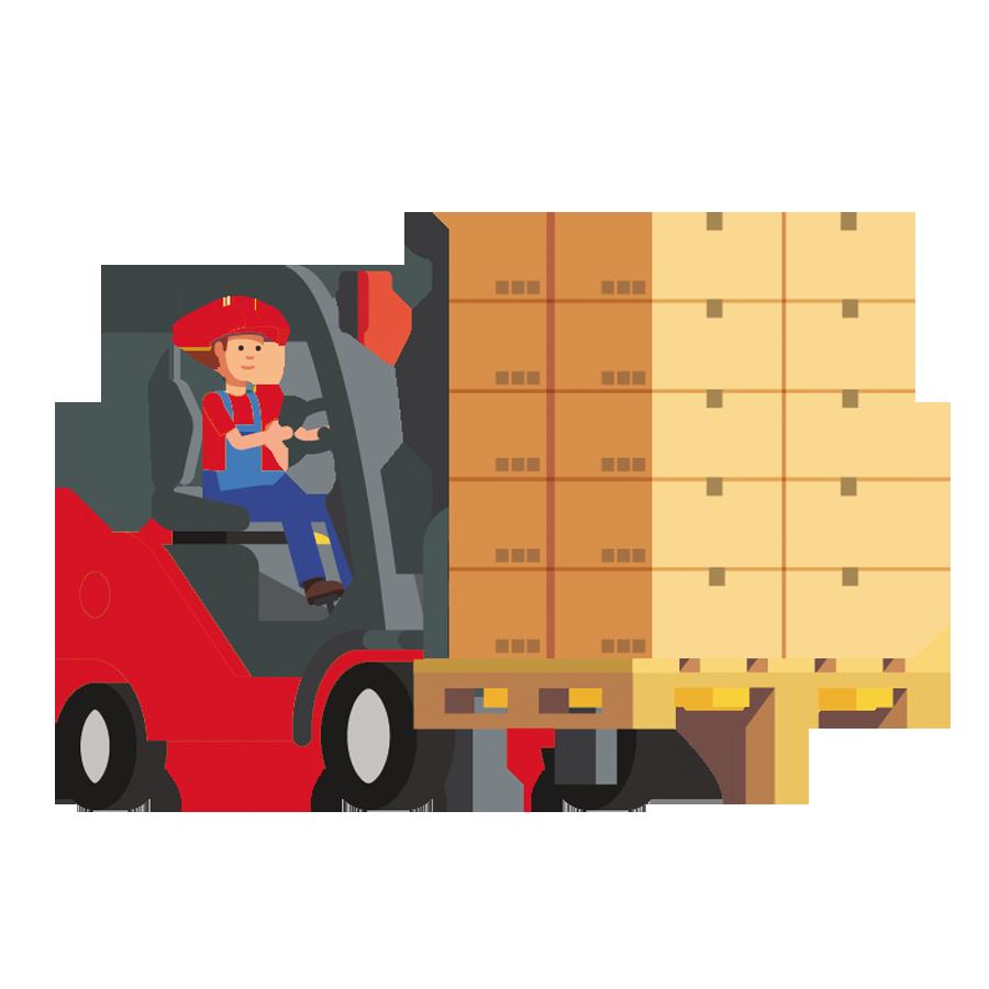 Maquinaria de almacen para mover mercancias